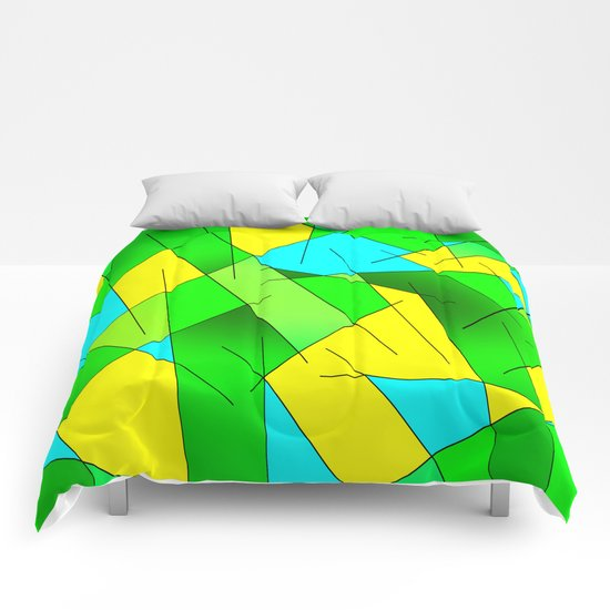 ABSTRACT LINES #1 (Greens, Yellow, Light Blue-Aquamarine) Comforters