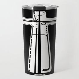 Confusianity (white on black) Travel Mug