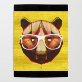 3D GEEKY GRIZZLY BEAR Poster