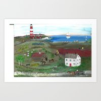 Cape Cod Bog and Lighthouse Art Print
