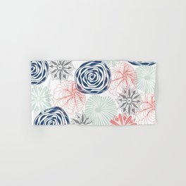 Floral Pattern in Coral Red, Navy Blue and Aqua Hand & Bath Towel