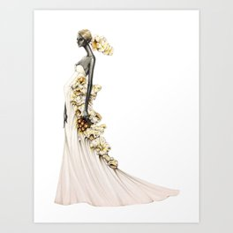 Bride in Buttered Popcorn Art Print