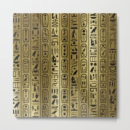 Black hieroglyphs pattern on Ancient Gold Metal Print