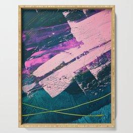 Wonder. - A vibrant minimal abstract piece in jewel tones by Alyssa Hamilton Art Serving Tray