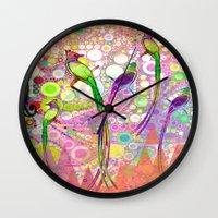 batik Wall Clocks featuring BATIK BIRDS by AlyZen Moonshadow