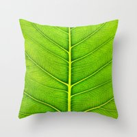 leaf Throw Pillows featuring Leaf by Patterns and Textures