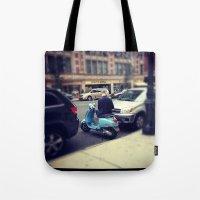 vespa Tote Bags featuring Vespa by Alissa Fleck
