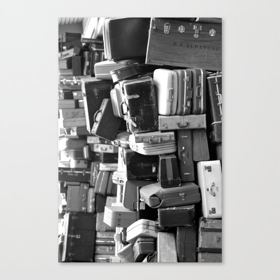 TOWER OF LUGGAGE in Black & White Canvas Print