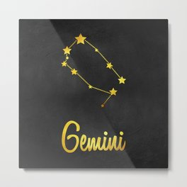 Gemini Zodiac Constellation in Gold Metal Print