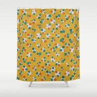 yellow pattern Shower Curtains featuring Yellow by Alisa Galitsyna