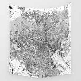 Vintage Map of Providence Rhode Island (1899) BW Wall Tapestry