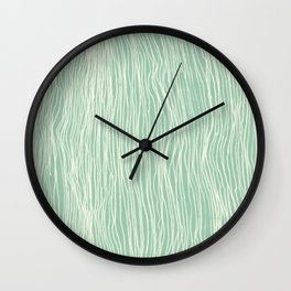 Jade Glow - abstract lines in cream & mint Wall Clock