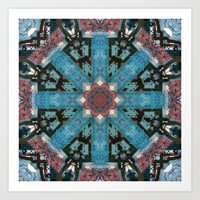 morrocan Art Prints featuring MOROCCAN GATEWAY PATTERN_in blue by MIURIO