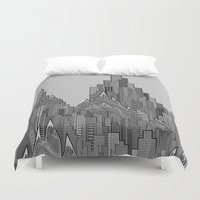 buildings Duvet Covers featuring Buildings & Mountains  by parallelish