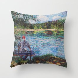 The Old Man and the Lake Throw Pillow