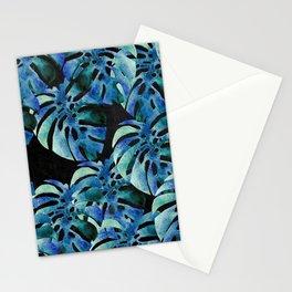 Monstera Pattern Blue On Chalkboard Stationery Cards
