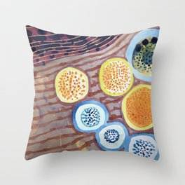 Still Life With Dotted Fruits Throw Pillow