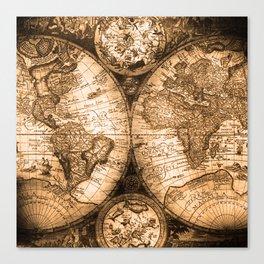 World Map Antique Vintage Maps Canvas Print