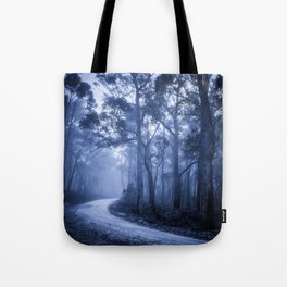 Dark Misty Road Tote Bag