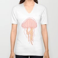 jellyfish V-neck T-shirts featuring Jellyfish by Doucette Designs