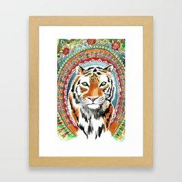 Tiger Indian Blossom Mandala Framed Art Print