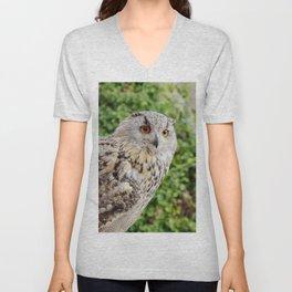Eagle Owl with glowing eyes Unisex V-Neck