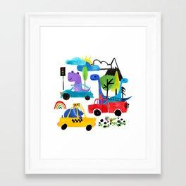 Dinosaur City Watercolor Transportation Pattern Framed Art Print