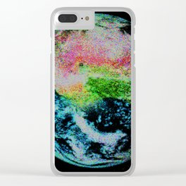 Pixel Earth Clear iPhone Case