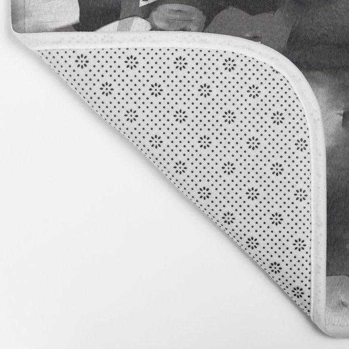 Raw Paint 2 - Black And White Bath Mat