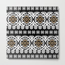 Modern black white faux gold glitter motif pattern Metal Print