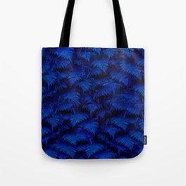 Deep Blue Fern Plant Wall Tote Bag