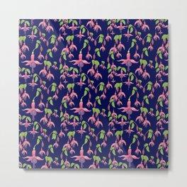 Watercolour Fuchsia Flower Pattern - Navy Metal Print