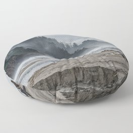 Hills And Mist At Proposal Rock Floor Pillow
