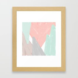 Soft angles - coral and mint abstract Framed Art Print