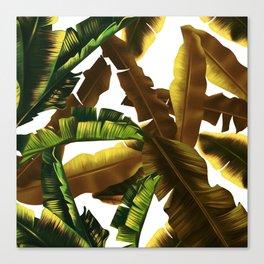 tropical banana leaves pattern gold Canvas Print