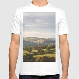 Sunset over trees in the valley. Derbyshire, UK. T-shirt