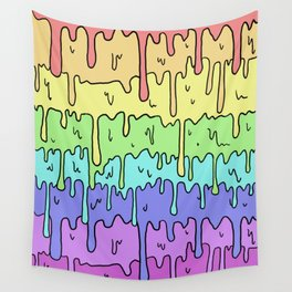 Pastel Kawaii Melting Rainbow Design Wall Tapestry