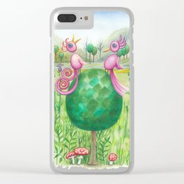 2 cute pink birds in a tree Clear iPhone Case