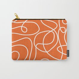 Doodle Line Art | White Lines on Persimmon Orange Carry-All Pouch