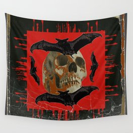 GRUNGY HALLOWEEN BAT INFESTED HAUNTED SKULL Wall Tapestry
