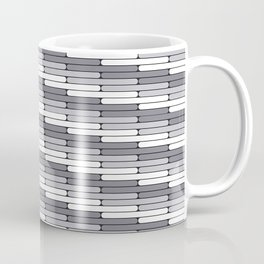 Staggered Oblong Rounded Lines Pattern Pantone Lilac Gray Coffee Mug