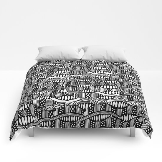 waves black and white Comforters