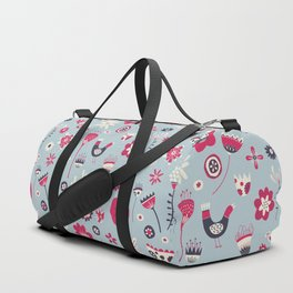 Scandi Birds and Flowers Blue Duffle Bag