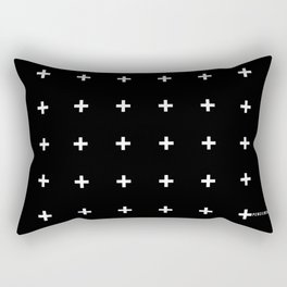 White Plus on Black /// www.pencilmeinstationery.com Rectangular Pillow