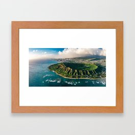 Diamond Head Aerial Panoramic Framed Art Print
