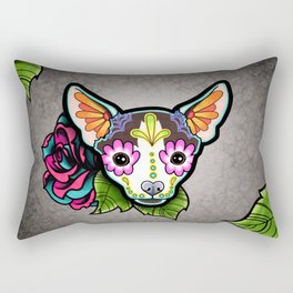 Chihuahua in Moo - Day of the Dead Sugar Skull Dog Rectangular Pillow