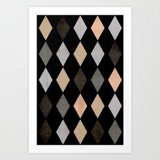Scandinavian pattern . Grunge. Diamonds . Art Print