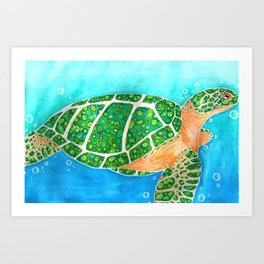 Malachite Sea Turtle Art Print
