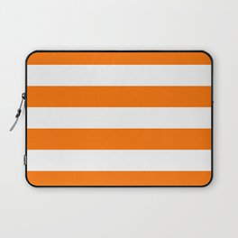 Bright Tumeric Orange and White Wide Horizontal Cabana Tent Stripe Laptop Sleeve