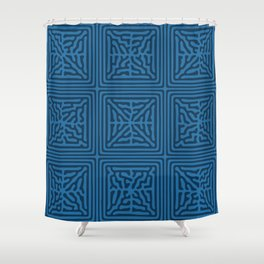 Turing Pattern Blocks (Blue) Shower Curtain